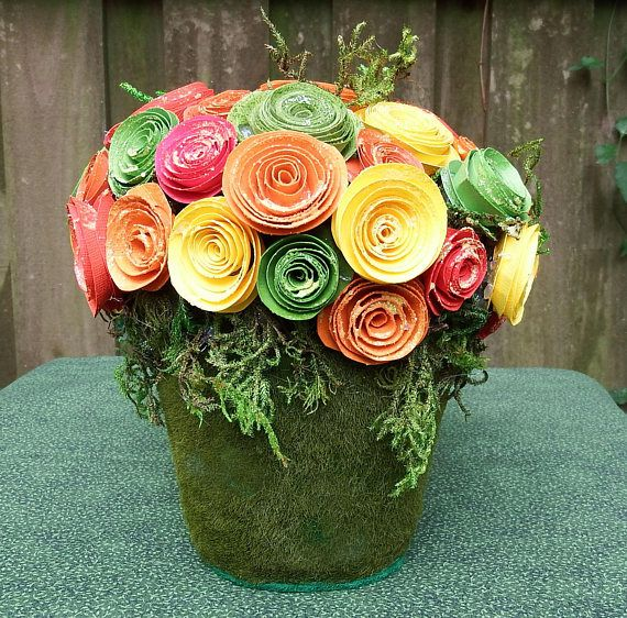 Small Floral arrangement Fall floral Hostess gift glittered