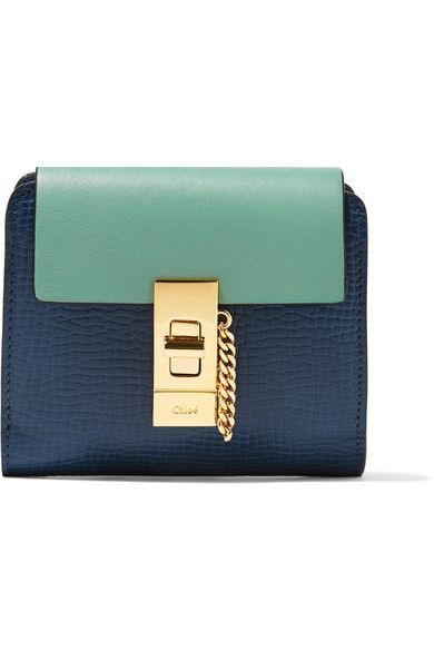 Chloé - Drew Two-tone Smooth And Textured-leather Wallet - Navy - one size