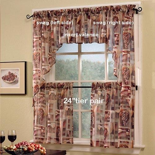 """24"""" Tastings Wine Print Sheer Tier Curtain Pair By S"""