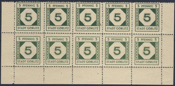 German Local Issue, Görlitz 1945, 5 Pfg., Kleinbogen (5x 2) ohne Oberrand, postfrisch Pracht (postfr., Mi.-Nr.1). Price Estimate (8/2016): 30 EUR.