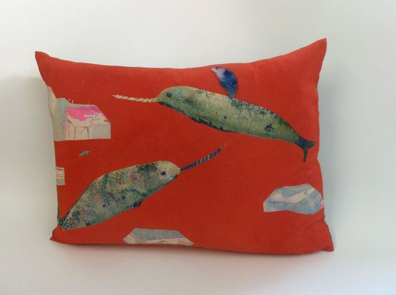 Large Red Silk Hand Painted Narwhals by Rose de Borman