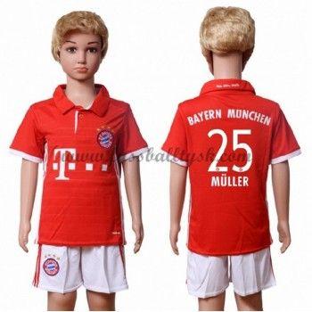Kinder Fussball Trikot Bayern Munich 2016-17 Muller 25 Heim Trikotsatz Kurzarm