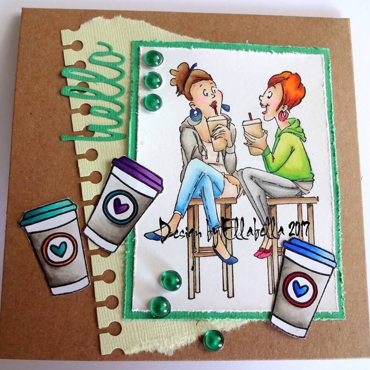 Art Impressions Rubber Stamps: Ai BFFs.  Handmade card with young girlfriends, coffee.