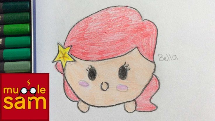 Kids Art Challenge! Drawing Ariel The Little Mermaid Tsum Tsum | Mugglesam