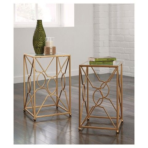 Signature Design by Ashley Contemporary 2 Piece Nesting End Tables - Gold Finish