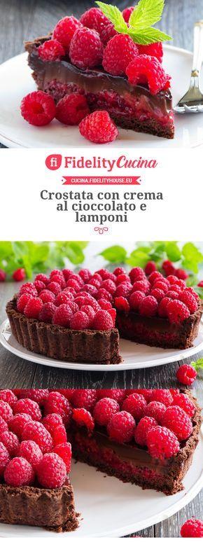 Crostata con crema al cioccolato e lamponi