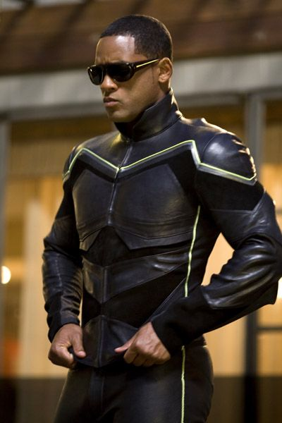Will Smith as Hancock. Rocking the X-Men style jump gear.