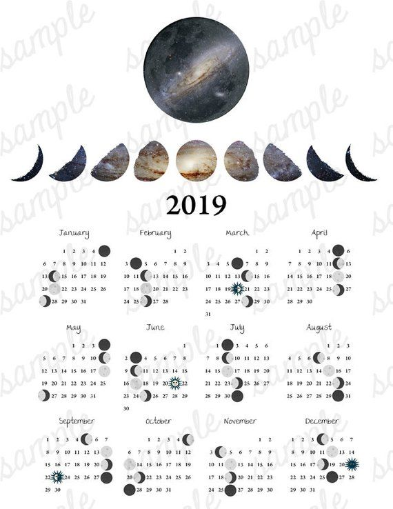 2019 Moon Phases Calendar 2019 Moon Phase Calendar Galaxy Equinox Solstice Astronomy Space