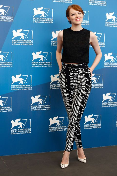 Emma Stone at a photocall for Birdman in Venice. See all of the star's best looks.