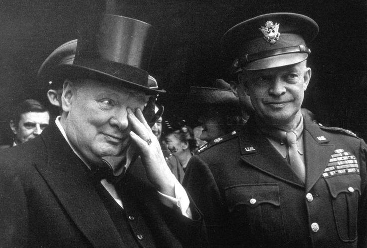 General Dwight Eisenhower and Prime Minister Winston Churchill on VE Day in London. - T F DARVAS/REX_Shutterstock