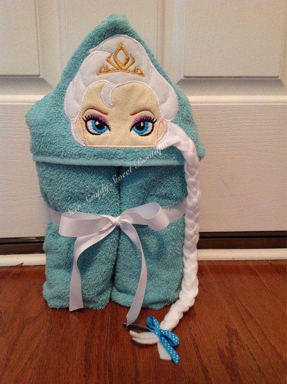 Princess Elsa Frozen inspired Hooded Bath Towel by sewsimplysweet, $30.00