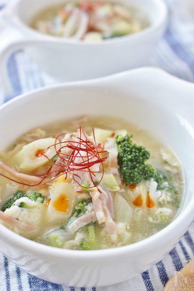 栄養たっぷりのブロッコリーと長ネギで中華風スープに!朝晩冷える季節に、しょうが、ラー油を加えて、体がポカポカになります!