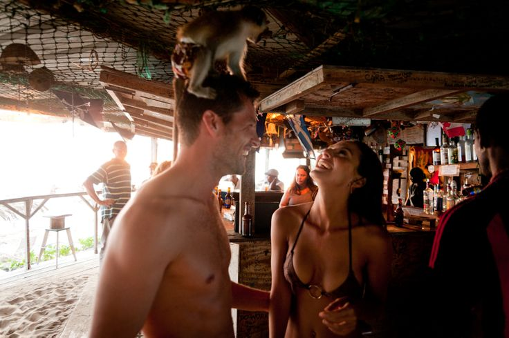 St. Kitts' infamous Monkey Bar & Seafood Restaurant. Yes, there is a monkey on his head.