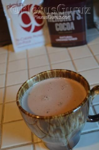 Plexus Hot Chocolate  1 Pack Plexus 96 2 tablespoons unsweetened cocoa powder 1 cup milk Honey to taste  Put P96, and cocoa powder in a bowl. Warm milk in the microwave for about 1 minute. Pour milk into bowl and whisk together until powders are completely dissolved. Add honey to sweeten.
