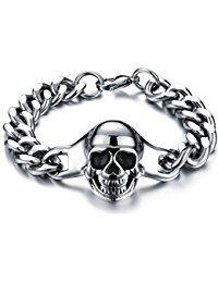 Jewelrywe Joyería Punk pulsera acero inoxidable de hombre, pulido cráneo sonriendo calavera, Negro plateado brazalete motorista biker