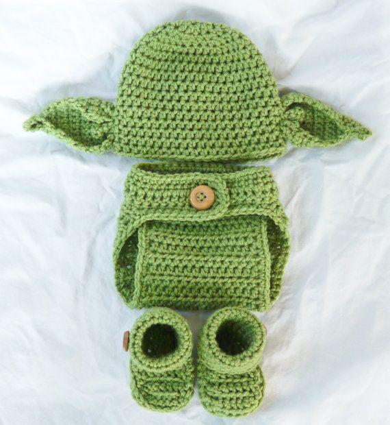 Yoda Beanie Newborn 0-3 months Star Wars Photo Prop 4 Pc SET on Etsy, $45.00