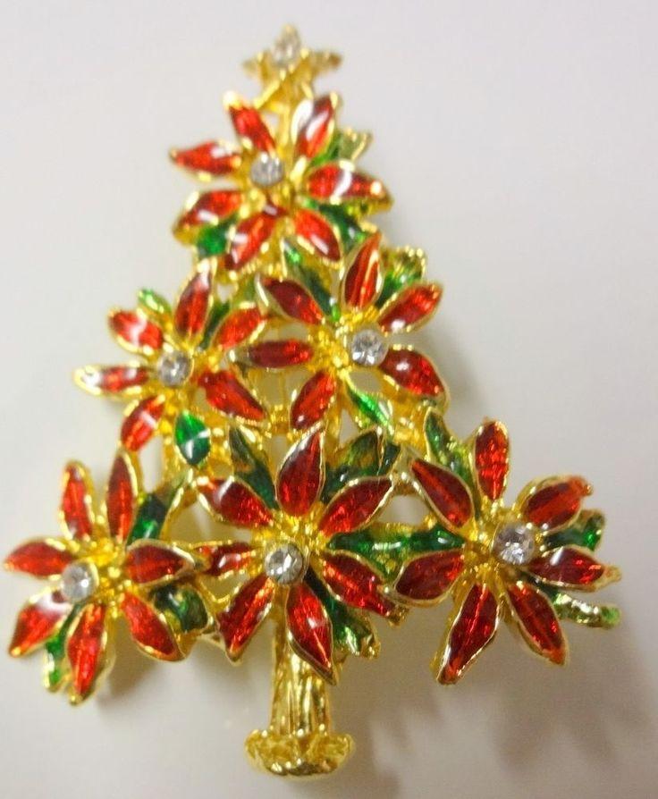 Vintage Christmas Tree Poinsettia Color Enamel Clear Rhinestone Pin Brooch Rare