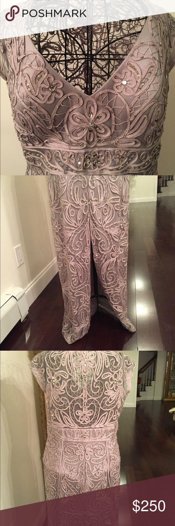 Stunning Sue Wong Taupe beaded gown. Sz 12 Excellent condition- worn one time.  Sue Wong Taupe beaded gown with elegant slit in the back.  Absolutely stunning when worn.  This is a must have!! Sue Wong Dresses Wedding