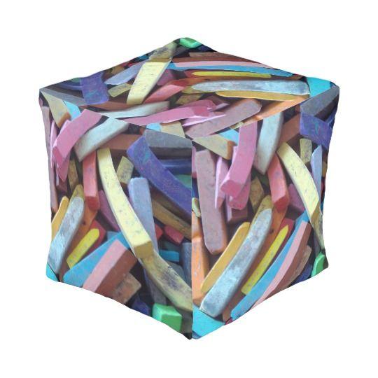 Colorful Chalks, Cube Pouf http://www.zazzle.com/colorful_chalks_cube_pouf-256690555651713446 #Art #Artist #Interior #Design
