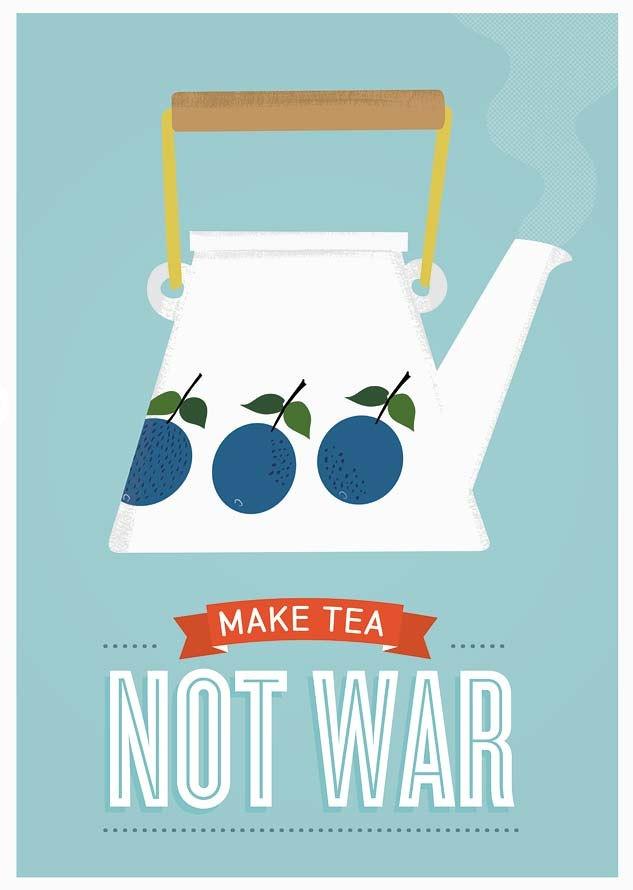 Tea print, Stig LIndberg Prunus, Mid century art, Kitchen print, Retro poster,  -Make tea not war. via Etsy.