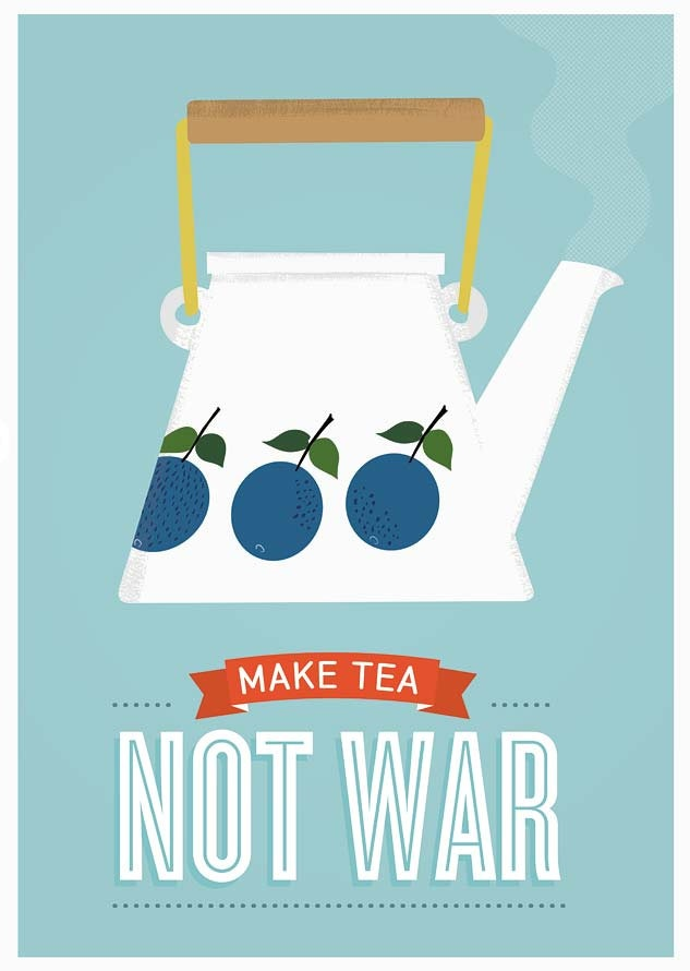 Tea print, Stig LIndberg Prunus, Mid century art, Kitchen print, Retro poster,  -Make tea not war. via Etsy.