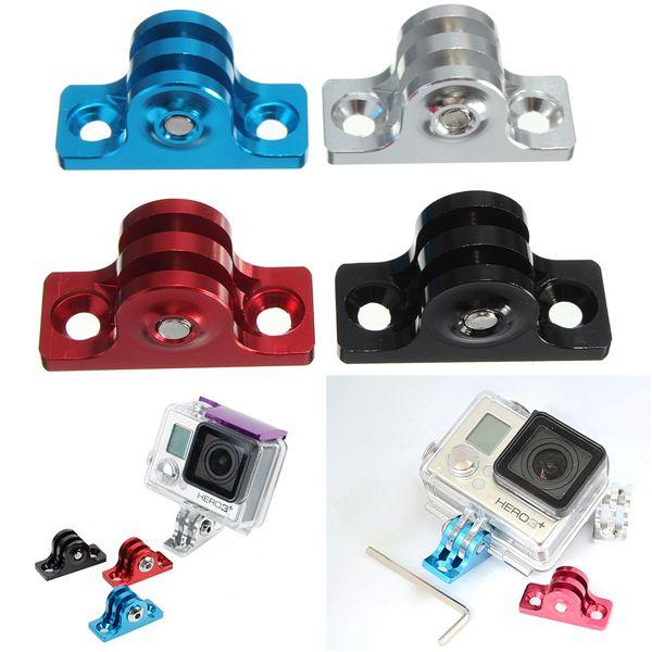 Fondo plano de aleación de aluminio adaptador de montaje para GoPro HD Hero 1 2 3 4 3 más sj4000