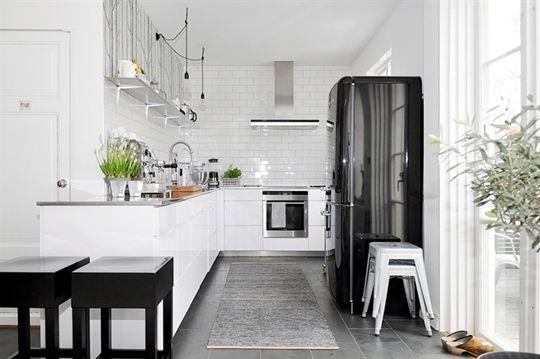 Beautiful scandinavian kitchen( I like this minus the black fridge and stools, the fridge should be turquoise)