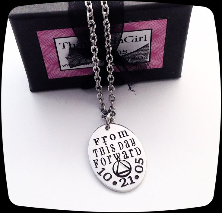 Sobriety Gift, From This Day Forward, Sobriety Jewelry, Addiction Recovery, Milestone Necklace, Sobriety Date, AA gift, NA gift by ThatKindaGirl on Etsy