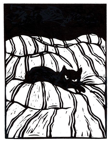 Catnap  original linoleum block print by mswest on Etsy, $25.00                        #black cat #cat art