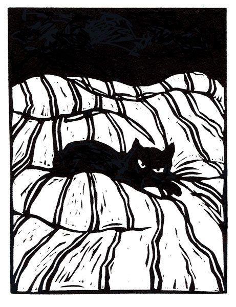 Catnap  original linoleum block print by mswest on Etsy, $25.00
