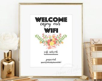 WIFI Password Printable  Guest Room Sign  by PaperieAndCreations