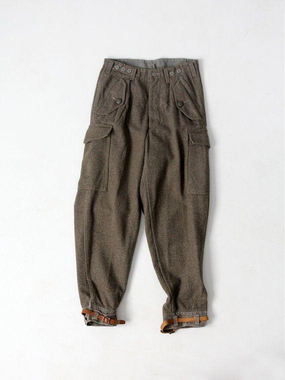 Pantalones del ejército sueco de WWII, pantalones de lana de los años 1940…