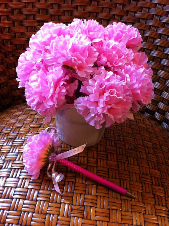 Pink It's a Girl Flower Pens (5 in a set) Baby Shower Favors on Etsy, $15.00