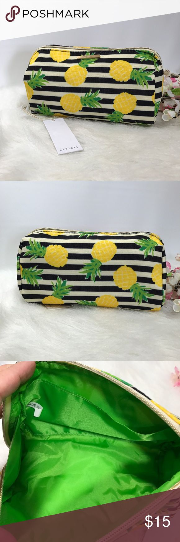 "Pineapple  Makeup/ Pencil Bag NWT super cute bag! 8""x5"" Use as a makeup bag or pencil pouch or about anything you can think of! Kestrel Bags Cosmetic Bags & Cases"