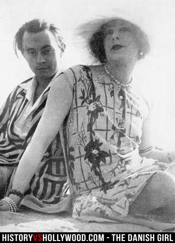 Transgender artist Lili Elbe (right) and boyfriend Claude Lejeune (left), an art dealer. See more pics at http://www.historyvshollywood.com/reelfaces/danish-girl/