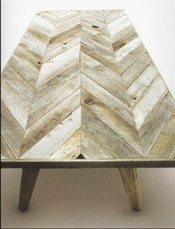 I love this chevron pattern for a reclaimed wood countertop aesthetic but with faux wood porcelain tiles to make it weatherproof.