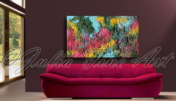 48x28''LARGE ORIGINAL Mixed MediaRich by JuliaFineArtGallery