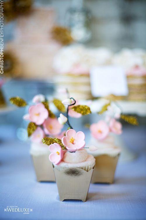 デザートブッフェに桜カップケーキ♡ 桜の時期の披露宴・二次会・1.5次会のアイデア☆