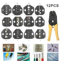 Wish | 12x Alloy Steel MC4 Terminal Crimping Plier Pressure Head Interchangeable Jaws Ratcheting Tool Wire Striper