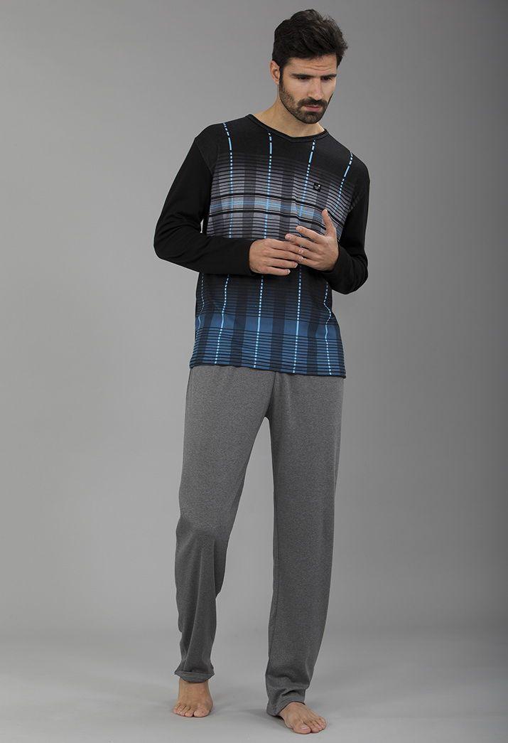 Pijama para él tonos grey, black & blue