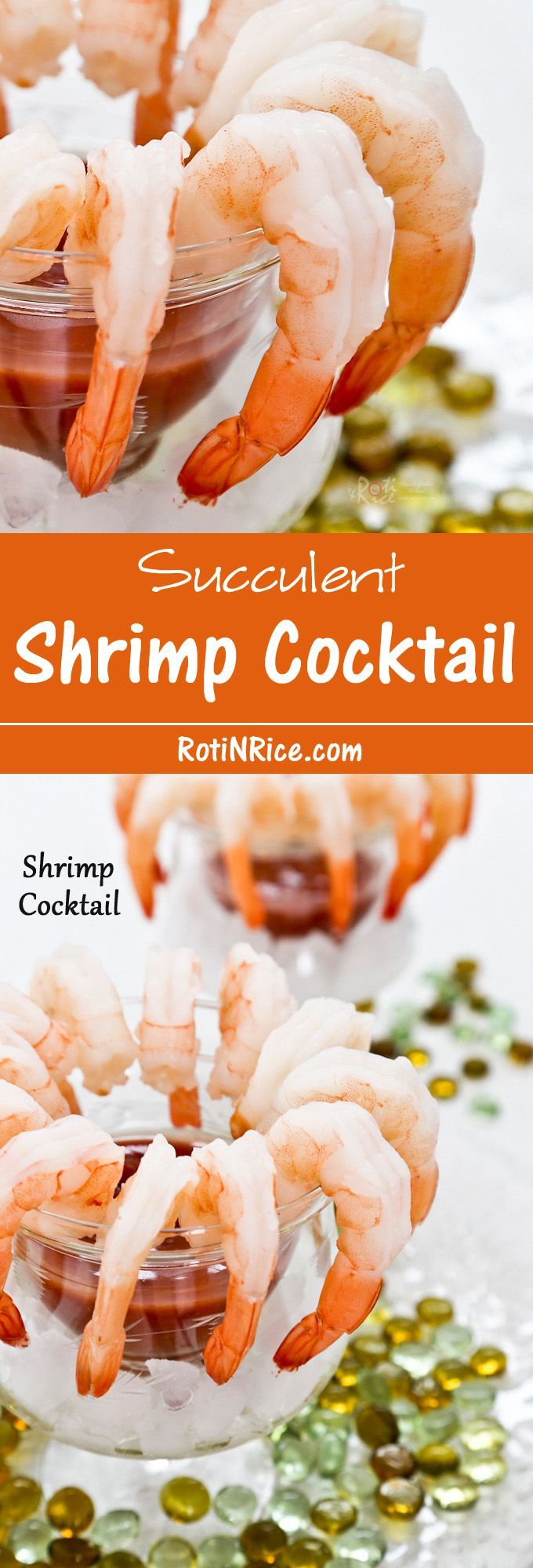 A delightful succulent Shrimp Cocktail with a slightly spicy and tangy tomato and horseradish sauce to start off your meal or holiday party. | Food to gladden the heart at http://RotiNRice.com