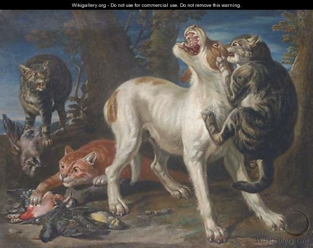 Cats attacking a dog in a landscape - (after) Jan Fyt