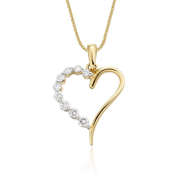 This elegant yellow gold diamond pendant has 0.20ct diamonds. The heart shape pendant features an graduating line of diamonds on one side with a mirror polished finish on the other. This necklace is made in 9K yellow gold and is available complete with a beautiful mirror trace chain or if you already have a chain then you have the option to buy just the pendant.