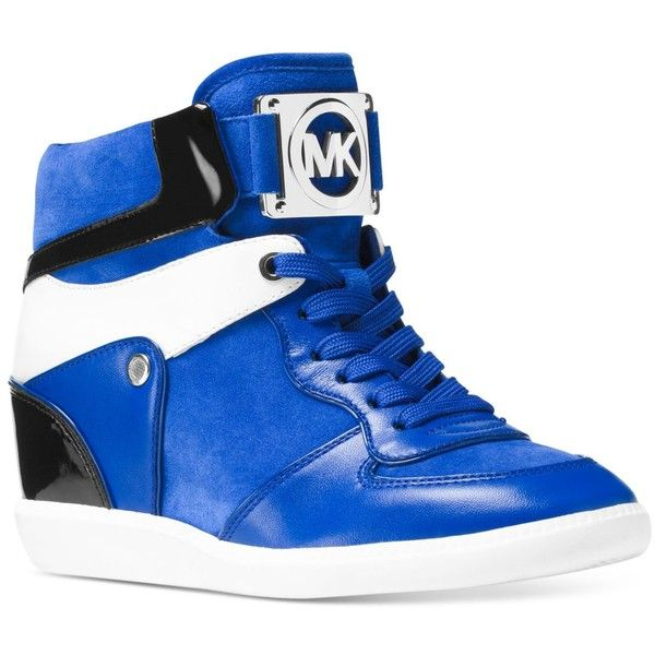 Michael Michael Kors Nikko High-Top Sneakers ($195) ❤ liked on Polyvore featuring shoes, sneakers, electric blue, royal blue shoes, electric blue shoes, michael kors trainers, high top hidden wedge sneakers and high top shoes