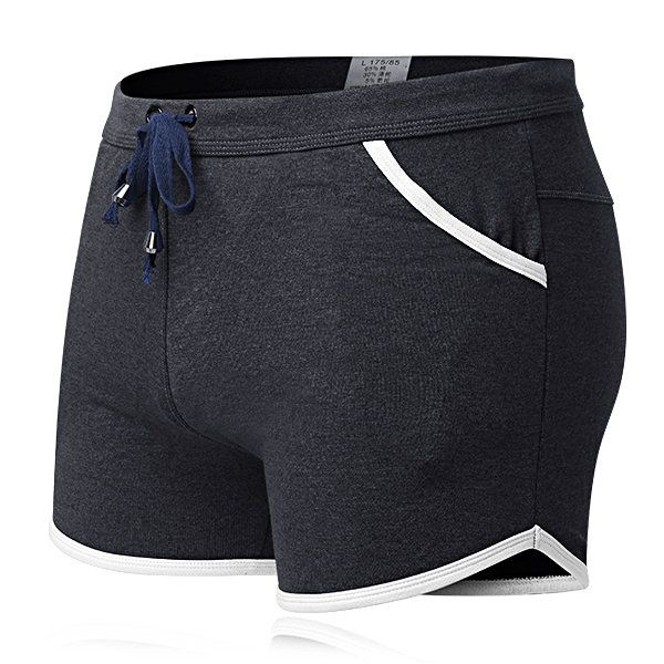 Fashion Sexy Inside Pouch Patchwork Drawstring Cotton Casual Boxers Underwear for Men - NewChic