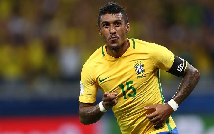 Download wallpapers Paulinho, Brazilian National Team, soccer, footballers, football
