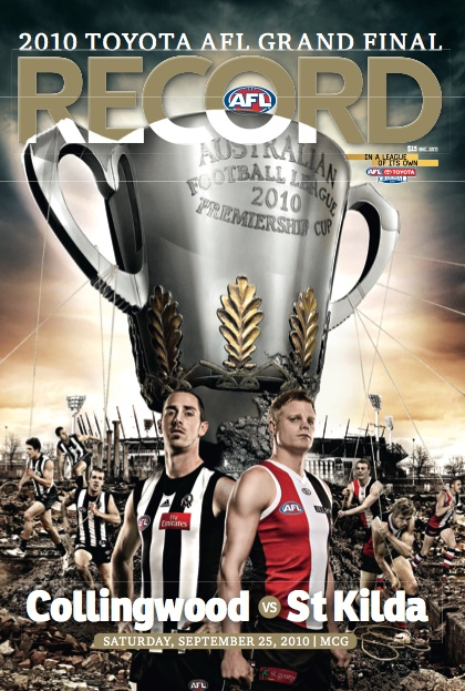 Footy Record cover for the (drawn) Grand Final of 2010 (vs St Kilda)