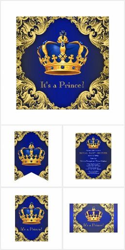 fancy prince baby shower invitation collection with pretty royal blue and gold crown on an elegant
