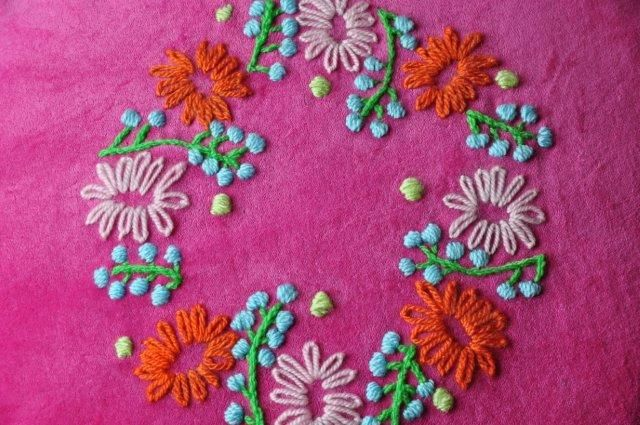 Embroidery on velvet cushion made by bonthuishouden
