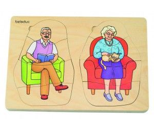 3000 Деревянная игрушка Beleduc Развивающий Пазл Дедушка и бабушка 17052